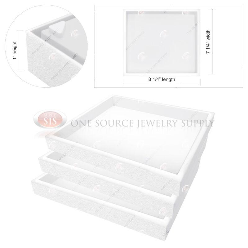 "3 Piece Stackable 1"" White Plastic Jewelry Display Half-Tray Storage Organizers"