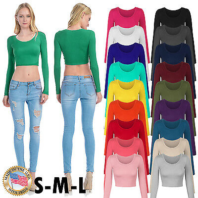 Fashion Womens Long Sleeve Basic Crop Top Round Neck With Stretch Usa S M L