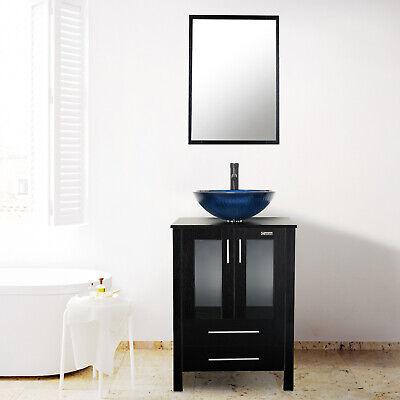 "24"" Bathroom Vanity Set Tempered Glass Vessel Sink Faucet"