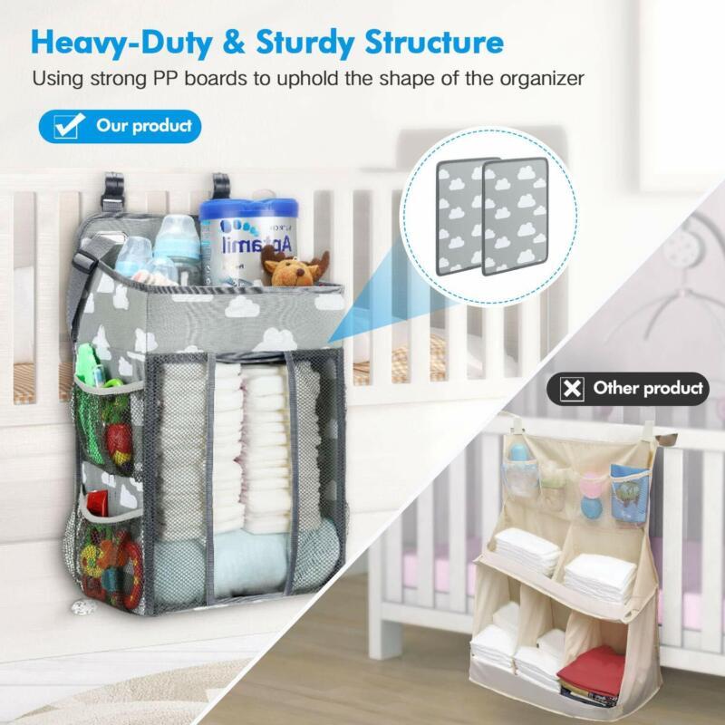 Hanging Diaper Caddy Crib Nursery Organizer Stacker Storage for Newborn Baby