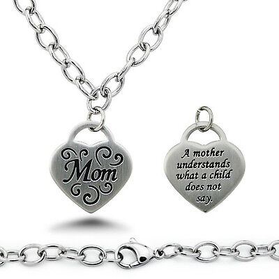 Stainless Steel Floral Design Mom Heart Tag Charm Necklace 18""