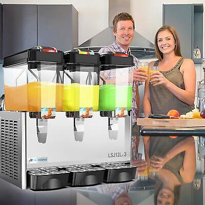 Commercial Cold Drink Dispenser Juice Beverage Maker 3 Tank Wthermostat Control