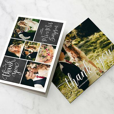 Folded Wedding Thank You Cards Personalised Photo Pack (G2)