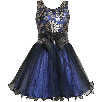 Big Girls Tween 7-16 Royal-Blue/Black/Gold Sequin and Tulle Social Party (Tween Party Kleider)