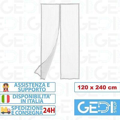 TENDA ZANZARIERA MAGNETICA CON CALAMITA 120 x 240 CM BIANCA PER PORTA BALCONE