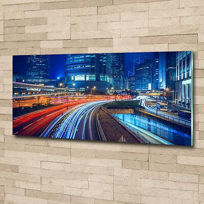 Glas-Bild Wandbilder Glas-Druck 125x50 Sehenswürdigkeiten Hong Kong bei Nacht
