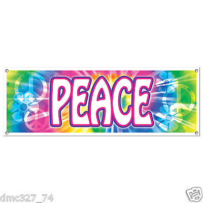 Groovy Retro 60s Party Decoration HIPPIE Tie Dye PEACE SIGN BANNER 60