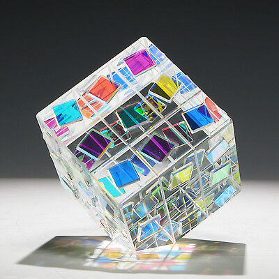 """NEW Optic Crystal Glass Paperweight """" SQUARE DANCE """" by Ray Lapsys"""