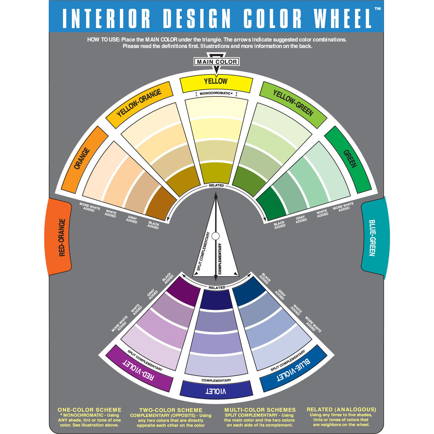 Artists Colour Wheel Mixing Guide For Paint Pastel Pencil Interior Design Pocket