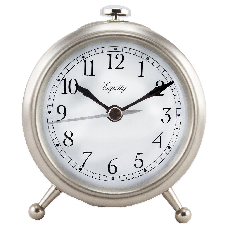 25655 Equity by La Crosse Analog Quartz Alarm Clock with Brushed Metallic Case