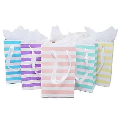 12 Unicorn Rainbow Paper Gift Bags Tissue Paper Satin Ribbon Handles 8.5 x 5.5