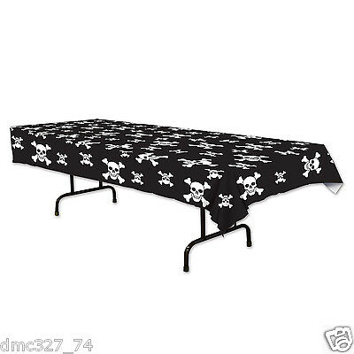 Black And White Halloween Table Decorations' (PIRATE Jolly Roger Black White Everyday Party Decoration TABLE COVER)