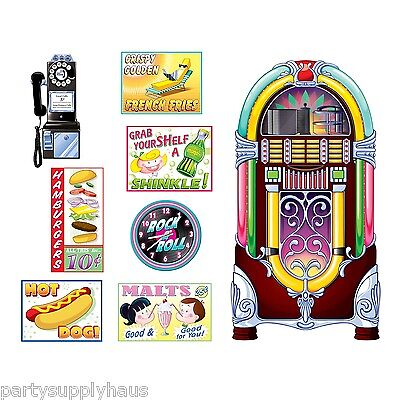 1950s Diner Sock Hop Grease Party Decoration SODA SHOP SIGNS & JUKEBOX PROPS - Grease Party Decorations