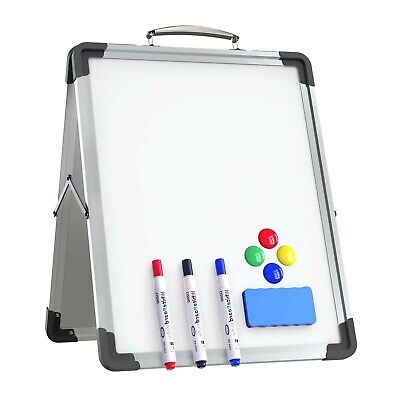 Small Dry Erase White Board 12 X 16 Portable Foldable Magnetic Double-sided...