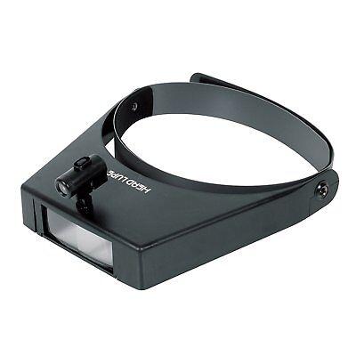 SHINWA Head Headband Magnifier 1.5 - 3.0 X Magnifying Binocular with Light 75656