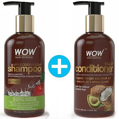 WOW Apple Cider Vinegar Shampoo + WOW Hair Conditioner Set (10 fl oz each.)