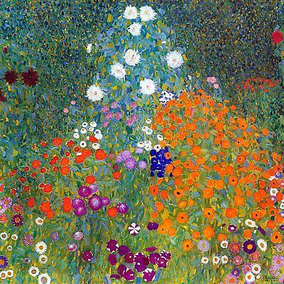 garden flowers by Gustav Klimt Tile Mural Kitchen Wall Backsplash Marble (Gustav Klimt Garden)