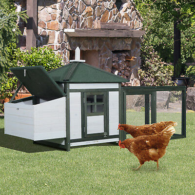 Large 77'' Chicken Coop Wooden House Small Animal cage Habitat Backyard w/ Run