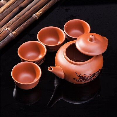 Exquisite 5 PCS Asian Dragon Design Purple Clay Tea Pot Tea Cups Set In Gift ...