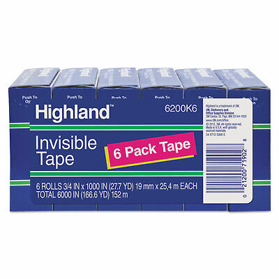 Highland Invisible Permanent Mending Tape 34 X 1000 1 Core Clear 6pack