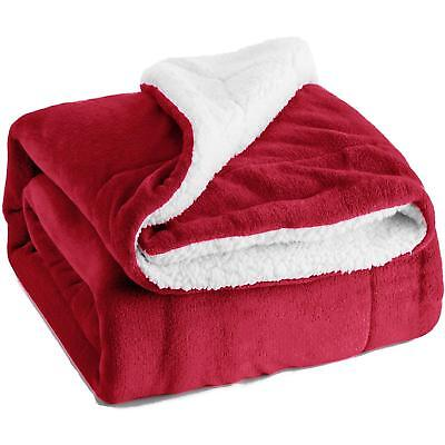 Sherpa Fleece Blanket Sofa Bed Throw Soft Warm Snuggle Blanket Burgundy - Double