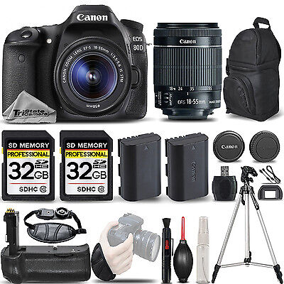 Canon EOS 80D DSLR Camera with 18-55mm IS STM Lens +BATT GRIP +EXT BATT +64GB