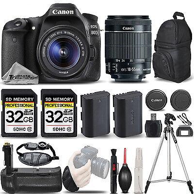 Canon EOS 80D DSLR Camera with 18-55mm IS STM Lens +BATT GRIP +EXT BATT +64GB
