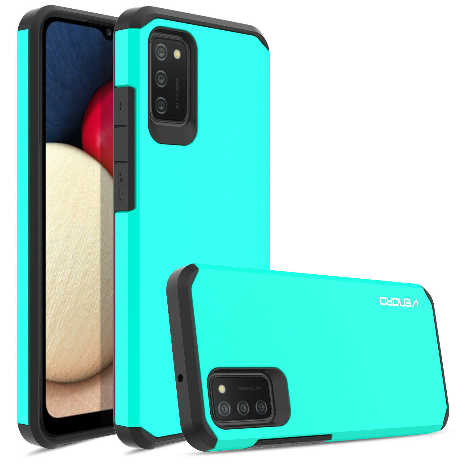 For Samsung Galaxy A02S Rugged Armor Case Cover,Tempered Glass Screen Protector Cases, Covers & Skins