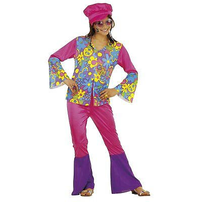 Kostüm Kinderkostüm Hippie Girl mit Hut und Kette Gr. 128
