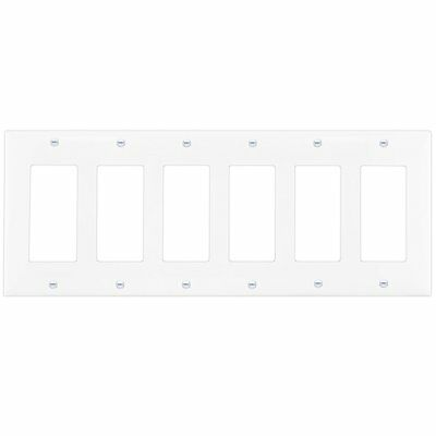 6-Gang Light Switch Wall Plate Cover Decorator GFCI Rocker White  ()