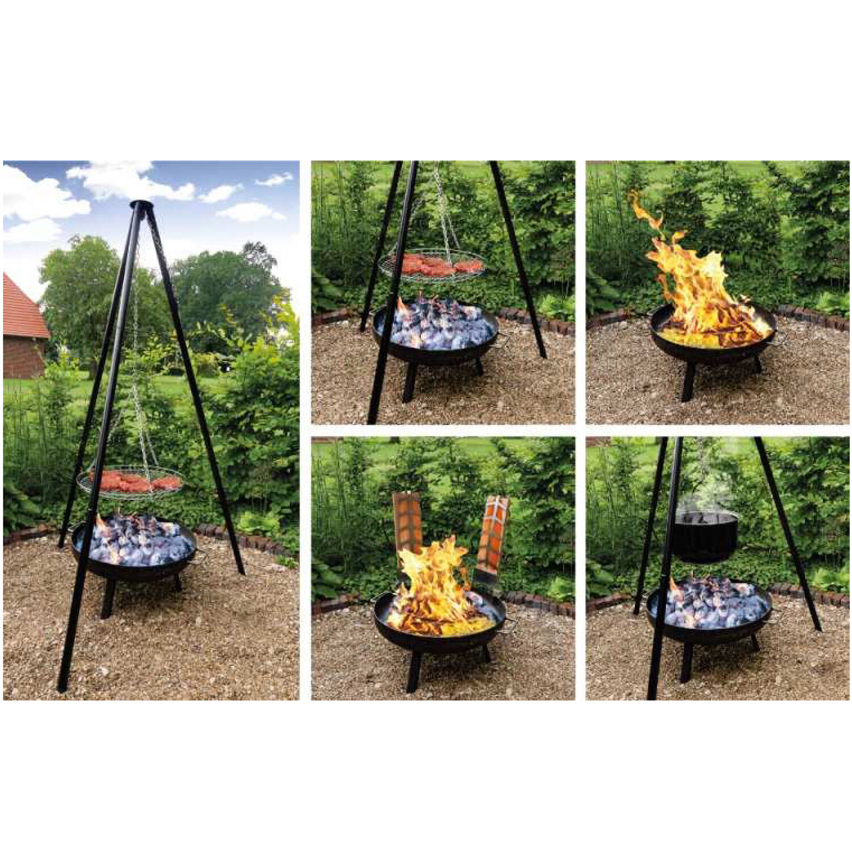 Multi-Grillset OSLO Schwenkgrill mit Feuerschale Multiunktionsgrill Flammlachs