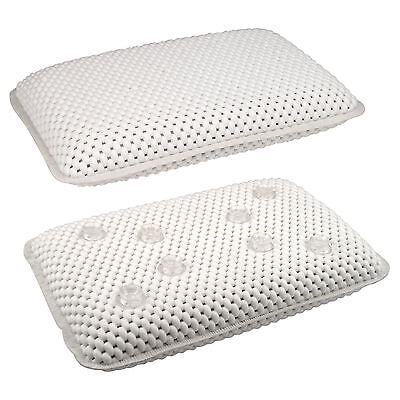 LUXURY WHITE RELAXING SPONGY CUSHIONED BATHROOM BATH SPA PILLOW HEAD NECK REST