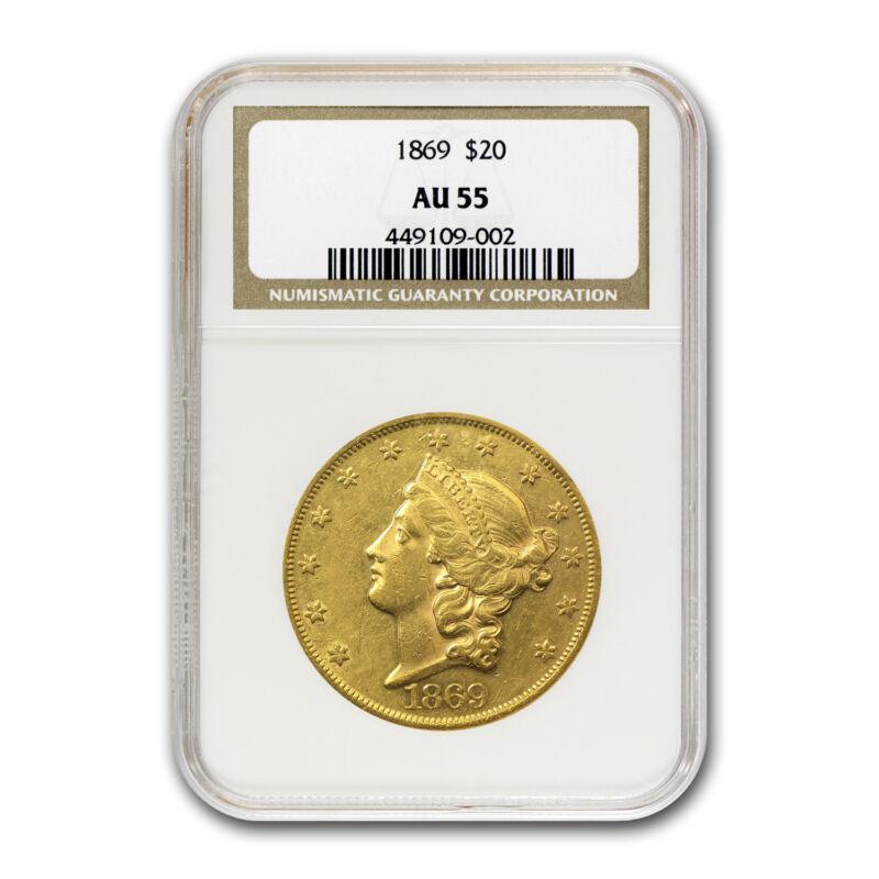 1869 $20 Liberty Gold Double Eagle Au-55 Ngc - Sku#67170