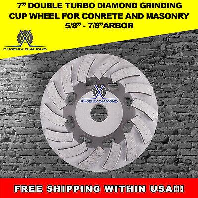 7 Turbo Concrete Grinding Cup Wheels 24 Diamond Abrasive Segs 58-78 Arbor