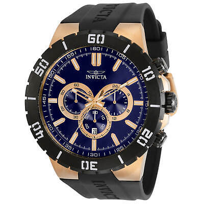 Invicta Men's Watch Pro Diver Rose Gold Case Blue Dial Black Strap 30729