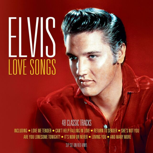 ELVIS LOVE SONGS - 3 LP SET ON RED VINYL - 48 CLASSIC TRACKS