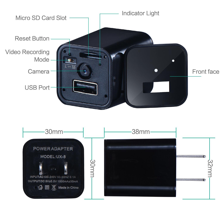 Hd 1080p Spy Camera Usb Wall Charger Mini Us Eu Plug Ac