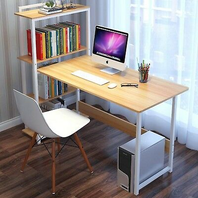 Wood Computer Desk With Shelf Pc Laptop Table Organizer Workstation Home Office