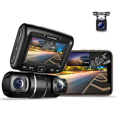 """REXING S1 Dash Cam 3-Channel Front,Rear,Cabin 1080P+720p+720p, 2"""" LCD, WiFi"""
