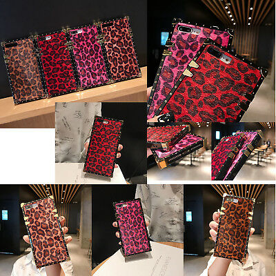 For iPhone Xr Xs MAX Xs 7 8 Plus Pink Leopard Square Plating Cover Leather Case - Pink Square Plates