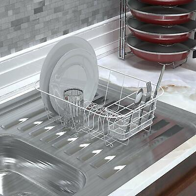 Dish Drying Rack Compact Drainer Couontertop Or In The Sink Sturdy Steel
