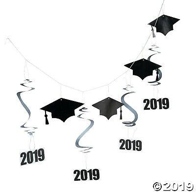 7ft Black 2019 Graduation Mortarboard Hanging Garland Banner Party - Banner Graduation