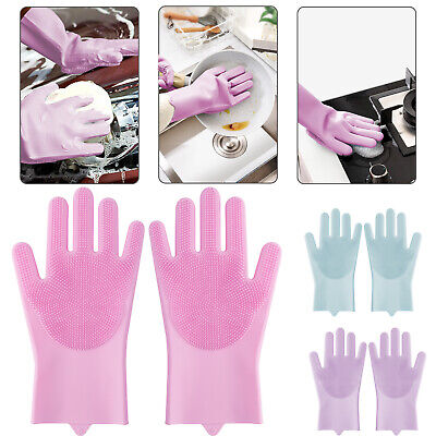 Magic Silicone Dish Washing Brush Gloves Scrubber For Cleaning Kitchen Car Pet