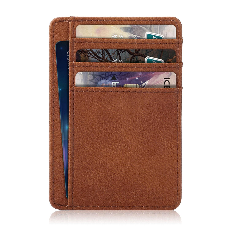 Premium PU Leather Slim ID Credit Card Holder Wallets - Mini