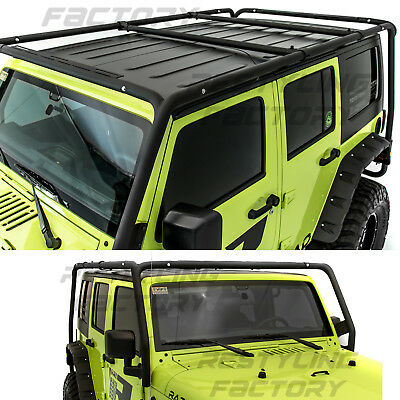 Cargo Roof Rack System Base+Top Cross Bar for 07-18 Jeep Wrangler 4 Door -