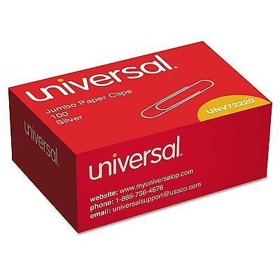 Universal, Paper Clips, Smooth, Jumbo, Silver, 100/Box, 10 Boxes, 1000 Total (Jumbo Paper Clips)