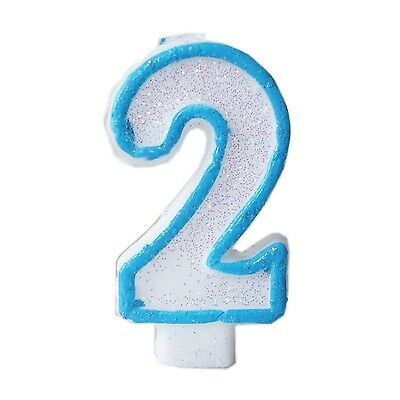 Blue Glitter Numeral 2 Number Candle White Premium 2nd Birthday Cake Candle - Number 2 Candle