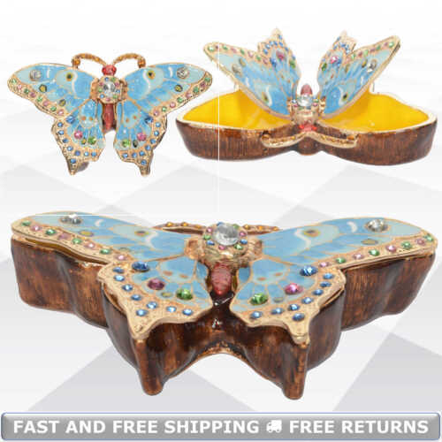 Butterfly Pewter Hinged Enameled Jewelry Trinket Box With Lid Bejeweled Crystals