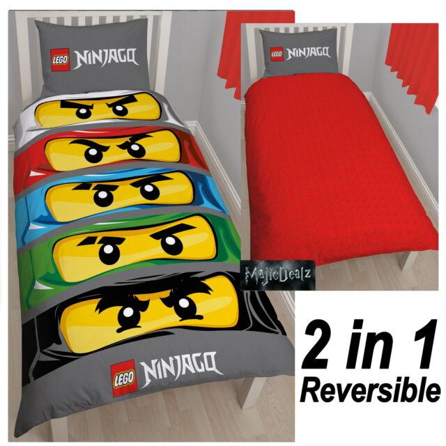 LEGO BRICKS NINJAGO EYES SINGLE PANEL REVERSIBLE DUVET SET QUILT COVER BEDDING