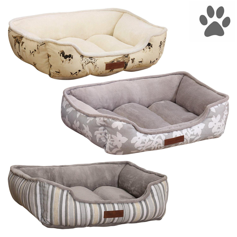 Reversible Dog Pet Bed Cuddler Washable Medium Microfleece Cozy Soft 24″ x 18″ Beds